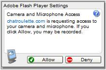 Laptop camera not working on chatroulette