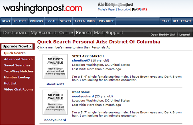 A quick check on the Seattle Times Personals pages, and the Washington ...