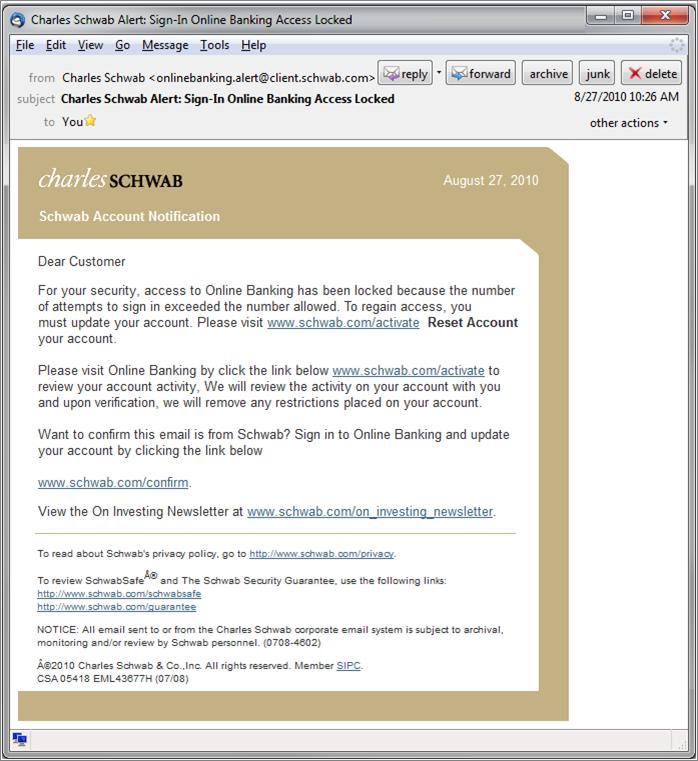 Charles Schwab Wire Transfer | Scam Charles Schwab Alert Sign In Online Banking Access Locked